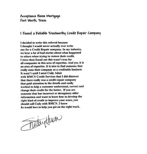 Letter Of Explanation For Any Derogatory Credit Testimonial2009 Archives Page 2 Of 11 Repair My Credit Now