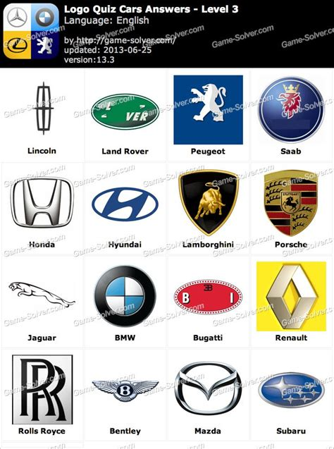 car logos quiz logo quiz cars answers level 3 solver