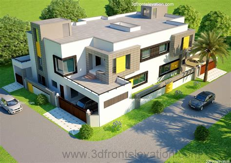 3d front elevation com new 1 kanal contemporary house 3d front elevation com 1 kanal corner plot 2 house