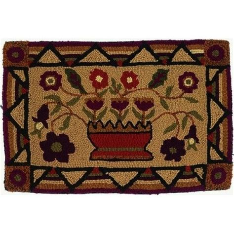 Primitive Kitchen Rugs Primitive Wool Hooked Country Flowers Wall Hanging Home And Kitchen Hooked Rugs Pinterest
