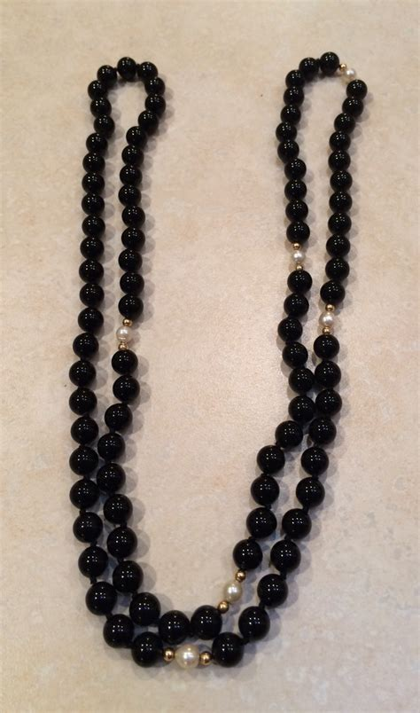 black onyx bead necklace black onyx gold and pearl bead necklace collectors weekly
