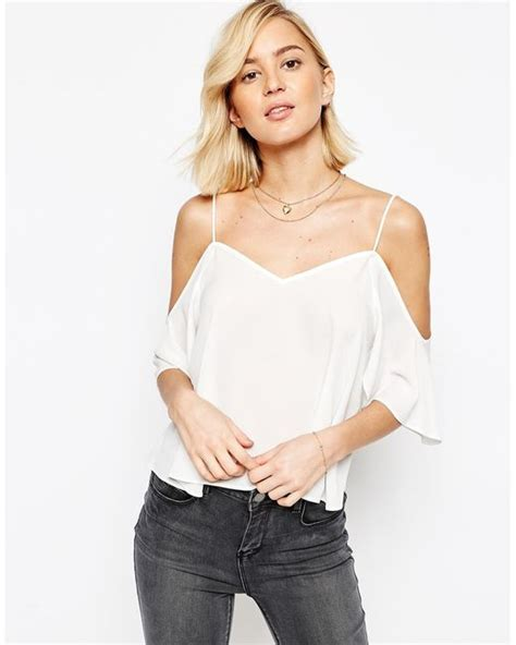 asos v neck cropped cold shoulder cami top in white ivory lyst