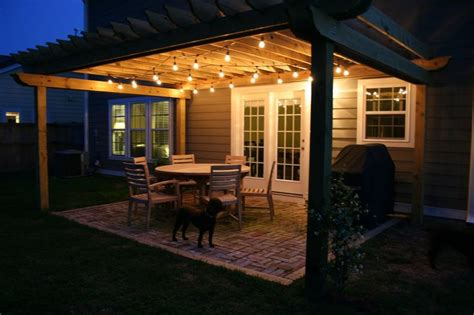 Brick Patio And Pergola With Cafe Lights The Lowcountry Patio Cafe Lights