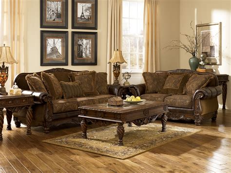 ashley furniture fresco  durablend antique living room set furniture pm