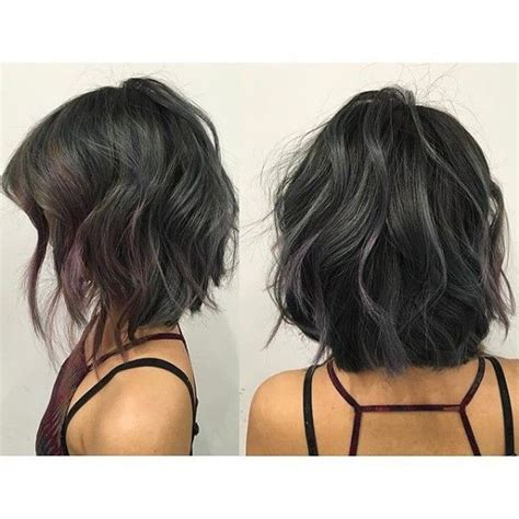 short haircuts brunettes with gray highlights tiny gray and purple highlights on textured bob black