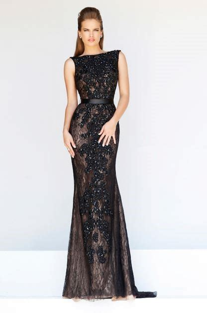 Formal Sheath Bateau Neck Backless Long Black Lace Beaded