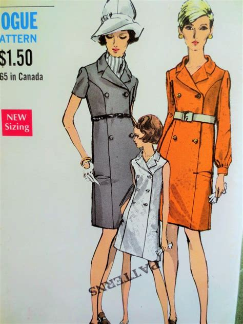 Vintage Etnik Cina Se 10 vintage vogue 7393 sewing pattern 1960s coat dress 1960s dress pattern mod dress bust 37