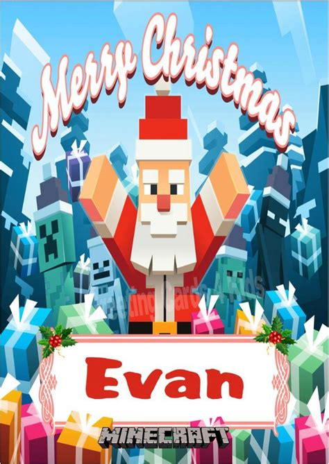 personalised minecraft christmas card design