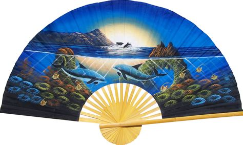 large decorative wall fans blue chinese fans