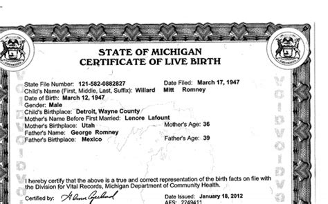 Birth Records Detroit Michigan American Resistance Mitt Romney Is Not A Born Citizen