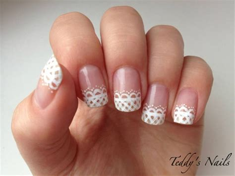 easy nail art using dotting tool cute lace french manicure hair beauty pinterest