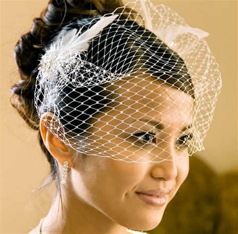 Wedding Hair For Birdcage Veil by Bridal Cage Veil Feather Accent Clip Bridal Hair