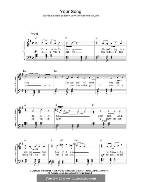 tutorial piano elton john easy piano sheet music your song elton john elton john