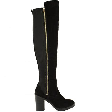 black faux suede elasticated low heel boots gold zip