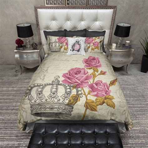vintage style comforters vintage style crown rose bedding cream ink and rags