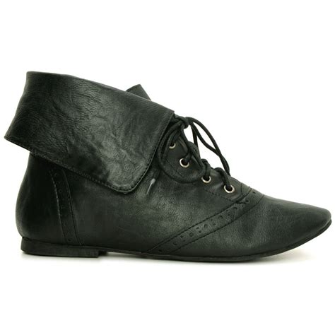 new womens brogue leather style ankle flat lace up pixie