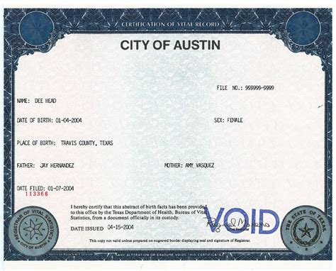 Record Of Birth Birth Certificates Health And Human Services Austintexas Gov The Official