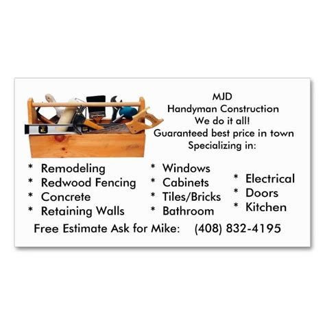 handyman business cards templates free 1978 best images about handyman business cards on