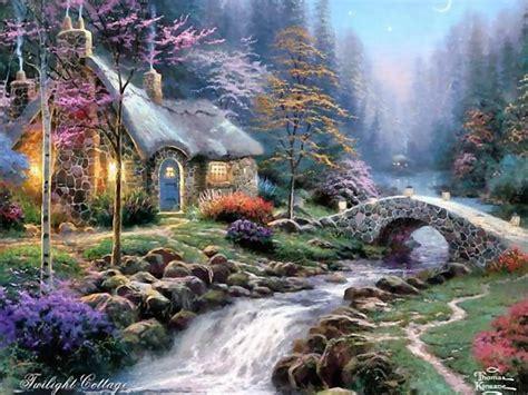 kinkade twilight cottage bridge kinkade twilight cottage wallpaper abstract other hd desktop wallpaper