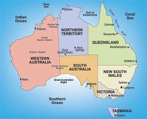 australia map simple australia honeymoon regions