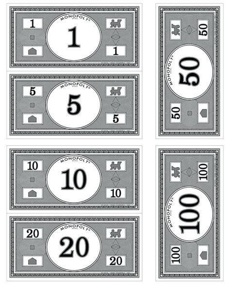 monopoly money template printable play money black and white www pixshark