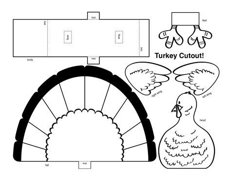 turkey coloring page cut out 4 best images of thanksgiving turkey cutouts printable