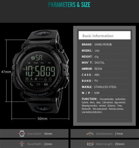 Jam Tangan Skmei Olahraga Smartwatch Bluetooth Water Resistant 50m skmei jam tangan olahraga smartwatch bluetooth 1303