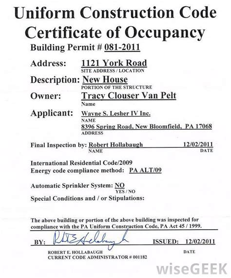 certificate of occupancy template what is an occupancy permit with pictures