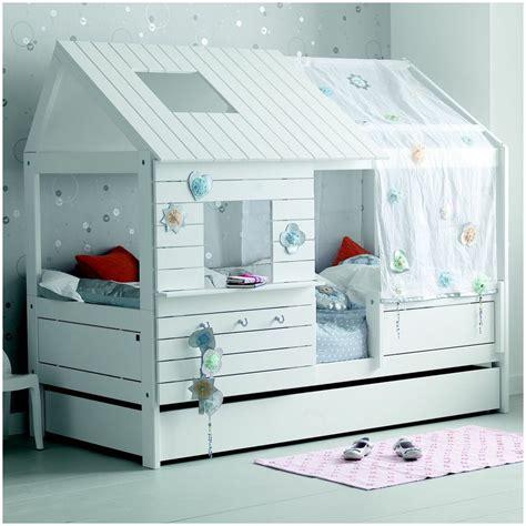 lit cabane fille 90x200 blanc