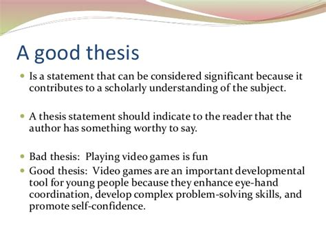 bad thesis statement exles writing a thesis statement