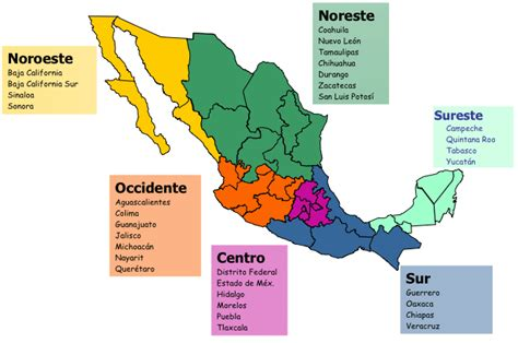 map of mexico yucatan region maps of mexico regions of mexico