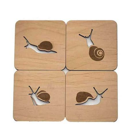 meuble pin 3716 snails laser cut wood coasters set of 4