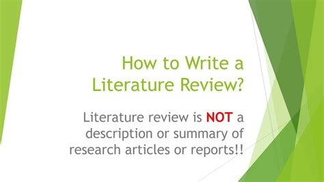 how to write the literature review of a research paper how to write a literature review