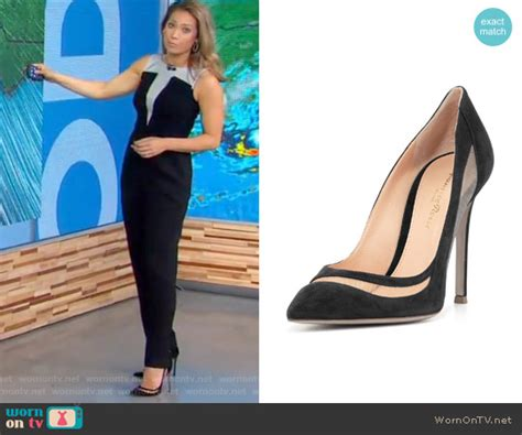 ginger zee color and cut on gma wornontv ginger s black color block jumpsuit on good