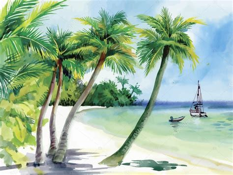 boat on beach drawing summer beach with palm trees seagulls and boat on shore