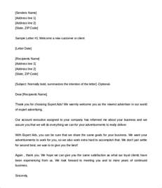 customer letter templates 31 hr welcome letter template free sle exle