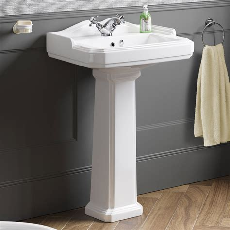 traditional bathroom basin traditional ceramic basin and pedestal single tap hole