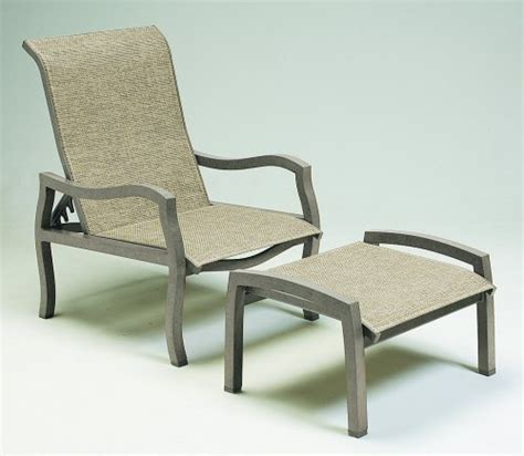 Outdoor Patio Chairs With Ottomans Carson Sling Adjustable Lounge Chair Ottoman Bistro Tables And Bases
