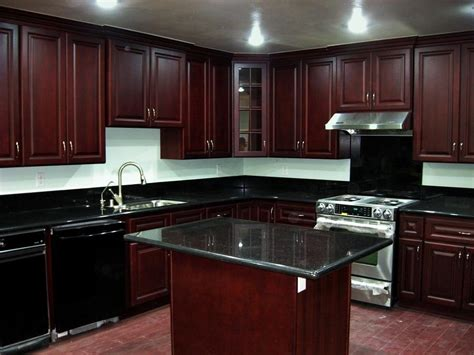 Cherry Cabinets Black Granite Photos