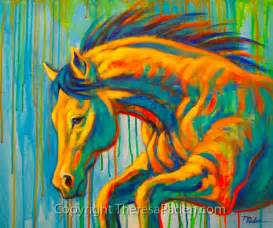 abstract horse art in bright colors by theresa paden