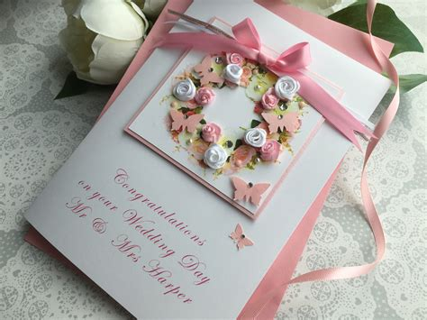 Uk Handmade - luxury handmade wedding card quot floral wreath