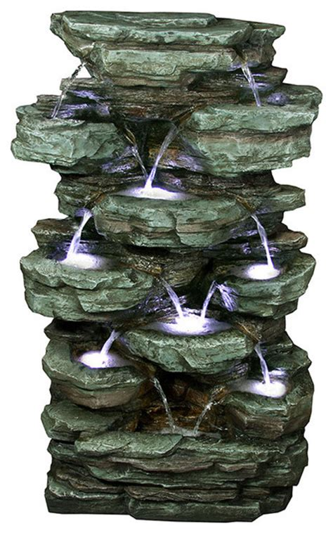 tiered rock rainforest fountain with led lights 39