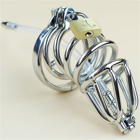 urethral chastity new double cock ring male chastity device silicone tube