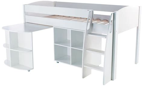 buy stompa white mid sleeper including desk and cube