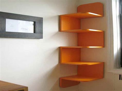 Diy Unique Vibrant Orange Decorative Corner Wall Shelving Corner Wall Bookshelves