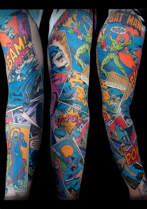 heroes tattoo stellar batman sleeve the colors and the detailed