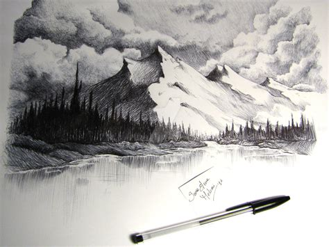 Drawing Mountains by Snow Capped Mountains Drawing By Sarameloni On Deviantart