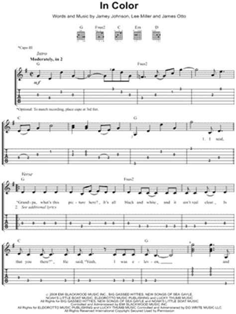 in color jamey johnson lyrics jamey johnson quot in color quot guitar tab print