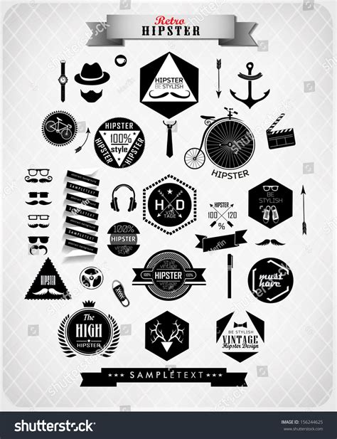hipster design elements vector hipster style elements icons labels can stock vector