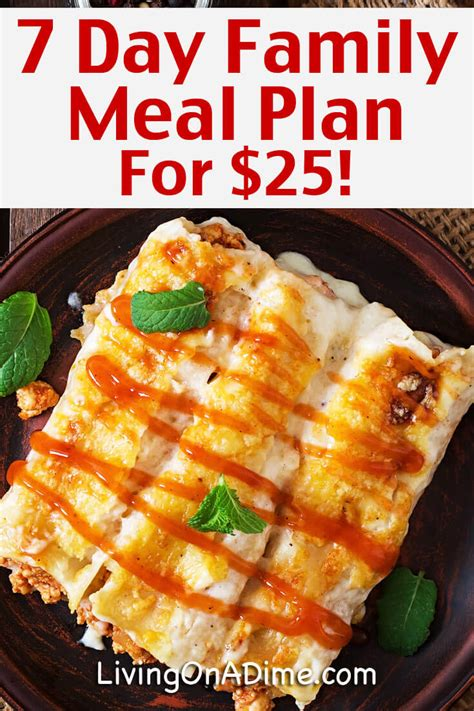 Easy Family 7 day meal plan for 25 cheap and easy family meals